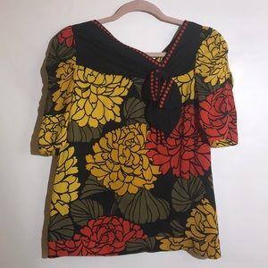 Anthropologie Leifsdottir blouse silk floral sz 6